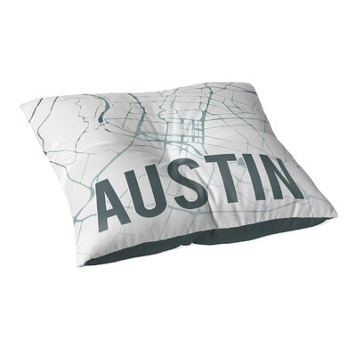 Austin Sunset Front Floor Pillow Size: 23 H x 23 W x 9.5 D, Color: Green/ White