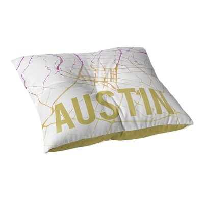 Austin Sunset Front Floor Pillow Size: 23 H x 23 W x 9.5 D, Color: Pink/ Purple/ Gold/ White