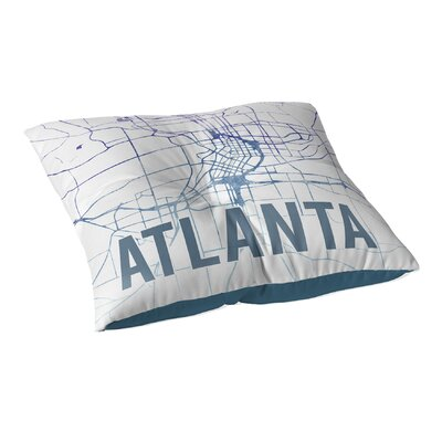Atlanta Sunset Front Floor Pillow Size: 23 H x 23 W x 9.5 D, Color: Blue/ Purple/ White