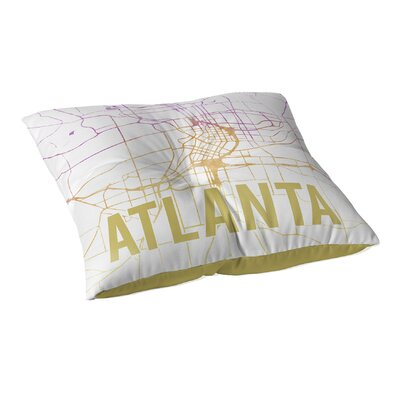 Atlanta Sunset Front Floor Pillow Size: 23 H x 23 W x 9.5 D, Color: Pink/ Purple/ Gold/ White
