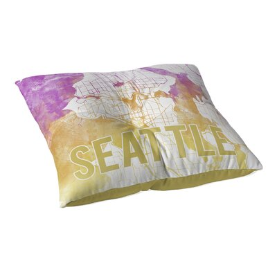 Seattle Sunset Front Floor Pillow Size: 23 H x 23 W x 9.5 D, Color: Pink/ Purple/ Gold/ White