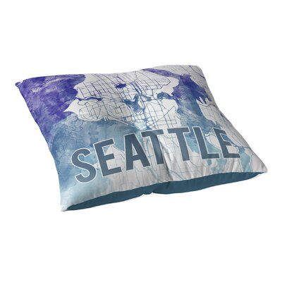 Seattle Sunset Front Floor Pillow Size: 26 H x 26 W x 12.5 D, Color: Blue/ Purple/ White