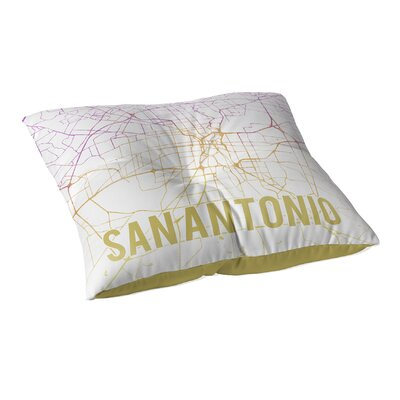 San Antonio Sunset Front Floor Pillow Size: 23 H x 23 W x 9.5 D, Color: Pink/ Purple/ Gold/ White