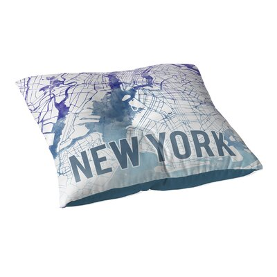 New York Sunset Front Floor Pillow Size: 23 H x 23 W x 9.5 D, Color: Blue/ Purple/ White