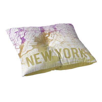 New York Sunset Front Floor Pillow Size: 26 H x 26 W x 12.5 D, Color: Pink/ Purple/ Gold/ White