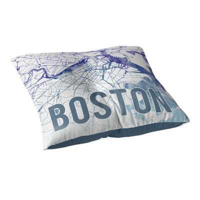 Boston Sunset Front Floor Pillow Size: 23 H x 23 W x 9.5 D, Color: Blue/ Purple/ White