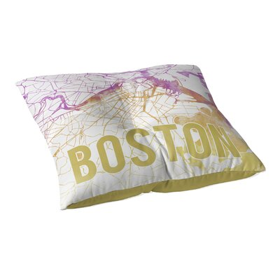 Boston Sunset Front Floor Pillow Size: 23 H x 23 W x 9.5 D, Color: Pink/ Purple/ Gold/ White
