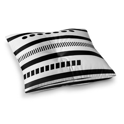 Geotribal Floor Pillow Size: 26 H x 26 W x 12.5 D, Color: Black/ White