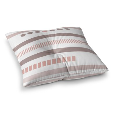 Geotribal Floor Pillow Size: 23 H x 23 W x 9.5 D, Color: Pink/ White