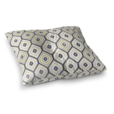 Honey Comb Square Floor Pillow Size: 26 H x 26 W x 12.5 D, Color: Gold/ Blue