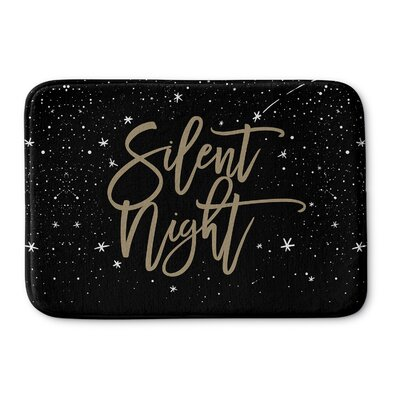 Silent Night Memory Foam Bath Rug Size: 24 W x 36 L, Color: Black/ Gold