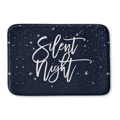 Silent Night Memory Foam Bath Rug Size: 24 W x 36 L, Color: Blue/ White