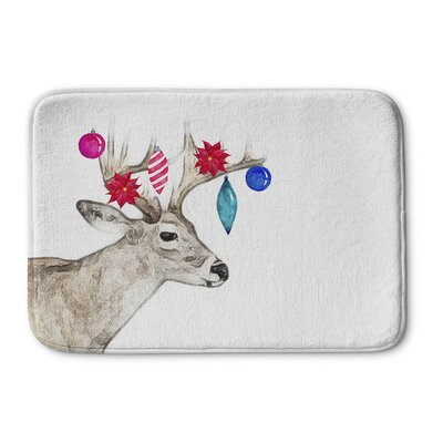 Jingle Deer Memory Foam Bath Rug Size: 17