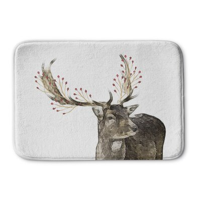 Berry Deer Memory Foam Bath Rug Size: 17