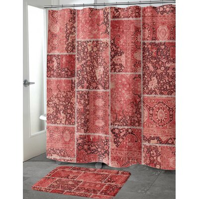 Boho Patchwork Memory Foam Bath Mat Size: 24 H x 17 W, Color: Red/ Pink/ Ivory