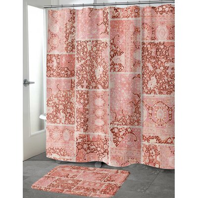 Boho Patchwork Memory Foam Bath Mat Size: 24 H x 17 W, Color: Peach/ Ivory