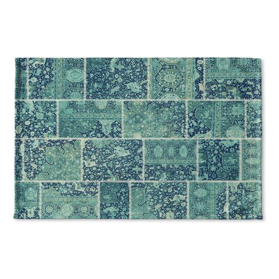 Boho Patchwork Flat Weave Bath Mat Color: Turquoise, Teal/ Ivory