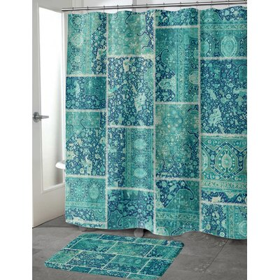 Boho Patchwork Memory Foam Bath Mat Size: 24 H x 17 W, Color: Turquoise, Teal/ Ivory