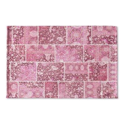 Boho Patchwork Flat Weave Bath Mat Color: Pink, Ivory