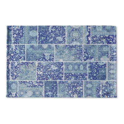 Boho Patchwork Flat Weave Bath Mat Color: Blue/ Purple/ Ivory