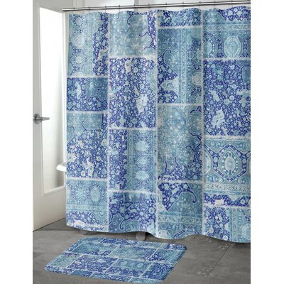 Boho Patchwork Memory Foam Bath Mat Size: 24 H x 17 W, Color: Blue/ Purple/ Ivory