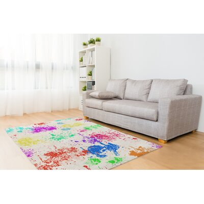 Hibiscus Purple/Red/Blue Area Rug Rug Size: Rectangle 8 x 10