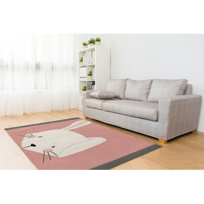 Bunny Pink/White Area Rug Rug Size: 3' x 5'