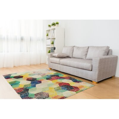 Shakia Distressed Red/Green/Purple Area Rug Size: Rectangle 5 x 7