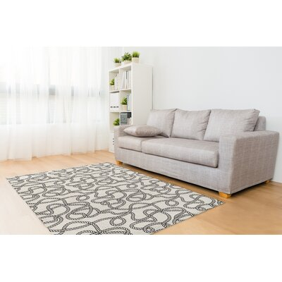 Calcott Rope Gray/Ivory Area Rug Size: Rectangle 8 x 10