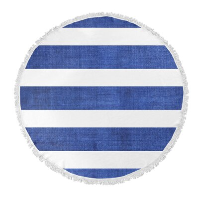 Centerville Round Beach Towel Color: Dark Blue/ White