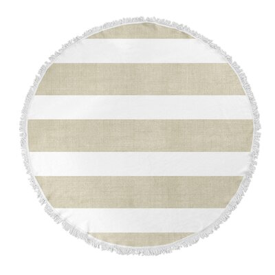 Centerville Round Beach Towel Color: Gold/ White