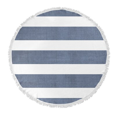 Centerville Round Beach Towel Color: Blue/ White/ Grey