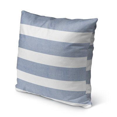 Centerville Burlap Indoor/Outdoor Pillow Size: 16 H x 16 W x 5 D, Color: Blue/ White