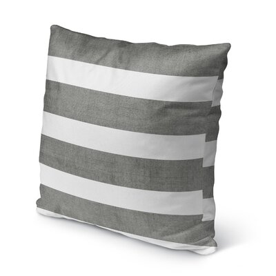Centerville Burlap Indoor/Outdoor Pillow Size: 18 H x 18 W x 5 D, Color: Charcoal/ White