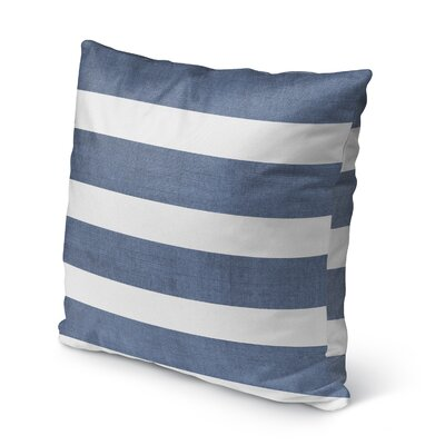 Melton Burlap Indoor/Outdoor Throw Pillow Size: 18 H x 18 W x 5 D, Color: Blue/ White/ Grey