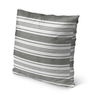 Sagamore Burlap Indoor/Outdoor Throw Pillow Size: 18 H x 18 W x 5 D, Color: Dark Grey/ White