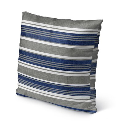 Sagamore Burlap Indoor/Outdoor Throw Pillow Size: 18 H x 18 W x 5 D, Color: Blue/ Grey