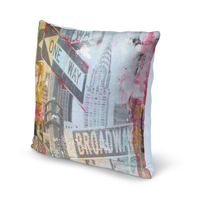 Kingston One Way Broadway Throw Pillow Size: 16 x 16