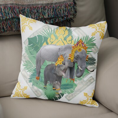 Edney Elephant Throw Pillow Size: 18