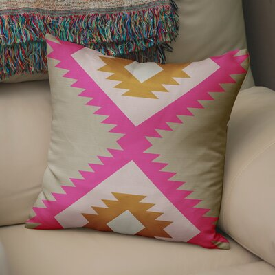 Levering Throw Pillow Size: 16 x 16, Color: Pink/Orange/Tan