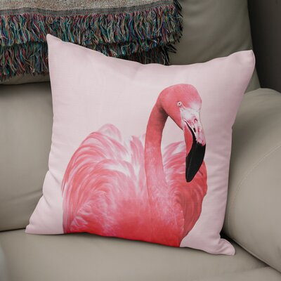 Pink Flamingo Canvas Accent Pillow Size: 18 H x 18 W x 5 D
