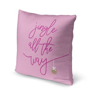 Jingle Throw Pillow Size: 18 H x 18 W x 4 D, Color: Red/ Pink