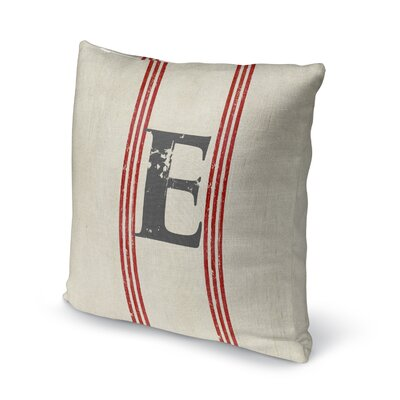 Fleece Throw Pillow Size: 18 H x 18 W x 4 D, Letter: E