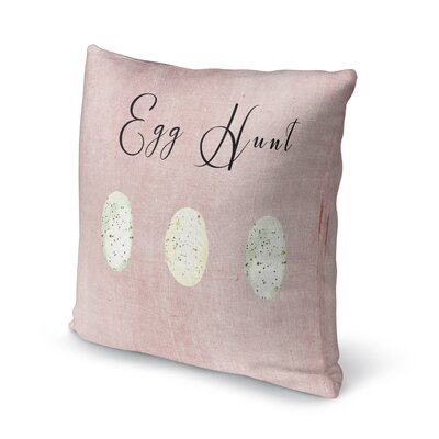 Egg Hunt Throw Pillow Size: 18 H x 18 W x 4 D, Color: Pink/ Black/ White