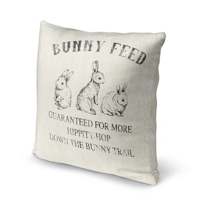 Bunny Feed Throw Pillow Size: 16 H x 16 W x 4 D, Color: Ivory/ Black