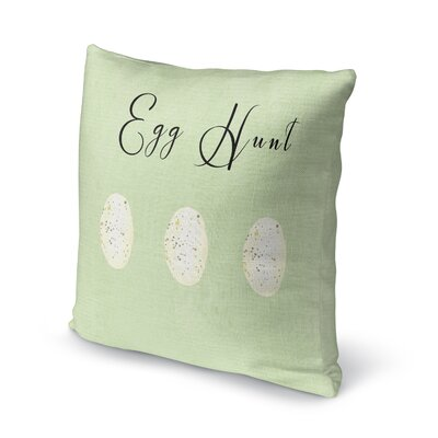 Egg Hunt Throw Pillow Size: 16 H x 16 W x 4 D, Color: Green/ Black/ White