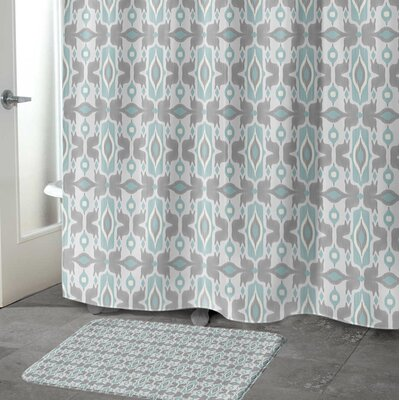 Cosmos Memory Foam Bath Rug Size: 24 W x 36 L, Color: Ivory/ Turquoise/ Grey