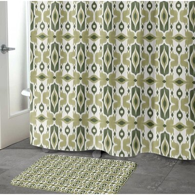 Cosmos Memory Foam Bath Rug Size: 17 W x 24 L, Color: Green/ Ivory