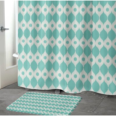 Forest Rain Memory Foam Bath Rug Size: 17 W x 24 L, Color: Blue/ Ivory