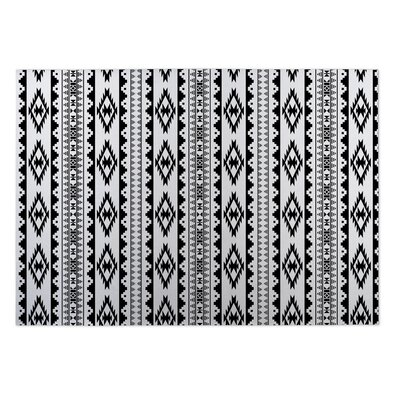 Black/White Indoor/Outdoor Doormat Mat Size: Rectangle 5 x 7